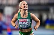 6 March 2021; Sarah Lavin of Ireland reacts after finishing third and setting a personal best in her heat of the Women's 60m Hurdles during the first session on day two of the European Indoor Athletics Championships at Arena Torun in Torun, Poland. Photo by Sam Barnes/Sportsfile