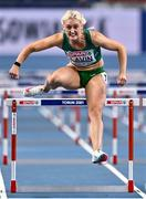 6 March 2021; Sarah Lavin of Ireland competes in the Women's 60m Hurdles heats during the first session on day two of the European Indoor Athletics Championships at Arena Torun in Torun, Poland. Photo by Sam Barnes/Sportsfile