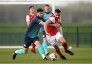 6 March 2021; Robbie Benson of St Patrick's Athletic in action against Darren Murphy of Cobh Ramblers during the Pre-Season Friendly match between St Patrick's Athletic and Cobh Ramblers at the FAI National Training Centre in Abbotstown, Dublin. Photo by Matt Browne/Sportsfile