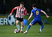 6 March 2021; Jack Malone of Derry City in action against Ali Coote of Bohemians during the Pre-Season Friendly match between Bohemians and Derry City at the AUL Complex in Clonshaugh, Dublin. Photo by Piaras Ó Mídheach/Sportsfile