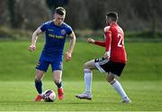 6 March 2021; Andy Lyons of Bohemians in action against Daniel Lafferty of Derry City during the Pre-Season Friendly match between Bohemians and Derry City at the AUL Complex in Clonshaugh, Dublin. Photo by Piaras Ó Mídheach/Sportsfile