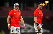 5 March 2021; Fineen Wycherley, left, and Billy Holland of Munster during the Guinness PRO14 match between Munster and Connacht at Thomond Park in Limerick. Photo by Ramsey Cardy/Sportsfile