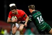 5 March 2021; Shane Daly of Munster is tackled by John Porch of Connacht during the Guinness PRO14 match between Munster and Connacht at Thomond Park in Limerick. Photo by Ramsey Cardy/Sportsfile