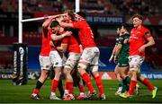 5 March 2021; Munster players celebrate after Mike Haley scored their second try during the Guinness PRO14 match between Munster and Connacht at Thomond Park in Limerick. Photo by Ramsey Cardy/Sportsfile