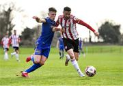 6 March 2021; Daniel Lafferty of Derry City in action against Andy Lyons of Bohemians during the Pre-Season Friendly match between Bohemians and Derry City at the AUL Complex in Clonshaugh, Dublin. Photo by Piaras Ó Mídheach/Sportsfile