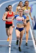 6 March 2021; Keely Hodgkinson of Great Britain leads the field in the Women's 800m semi-final during the second session on day two of the European Indoor Athletics Championships at Arena Torun in Torun, Poland. Photo by Sam Barnes/Sportsfile