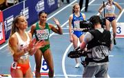 6 March 2021; Nadia Power of Ireland is introduced prior to the Women's 800m semi-final during the second session on day two of the European Indoor Athletics Championships at Arena Torun in Torun, Poland. Photo by Sam Barnes/Sportsfile