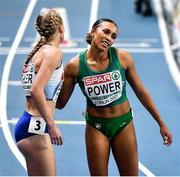 6 March 2021; Ellie Baker of great Britain and Nadia Power of Ireland after the Women's 800m semi-final during the second session on day two of the European Indoor Athletics Championships at Arena Torun in Torun, Poland. Photo by Sam Barnes/Sportsfile