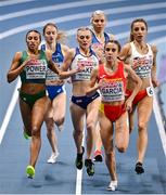 6 March 2021; Nadia Power of Ireland and Daniela Garcia of Spain compete in the Women's 800m semi-final during the second session on day two of the European Indoor Athletics Championships at Arena Torun in Torun, Poland. Photo by Sam Barnes/Sportsfile
