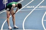 6 March 2021; Cian McPhillips of Ireland after finishing fourth in the Men's 800m semi-final during the second session on day two of the European Indoor Athletics Championships at Arena Torun in Torun, Poland. Photo by Sam Barnes/Sportsfile