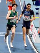 6 March 2021; Cian McPhillips of Ireland and Nasredine Khatir of France in the Men's 800m semi-final during the second session on day two of the European Indoor Athletics Championships at Arena Torun in Torun, Poland. Photo by Sam Barnes/Sportsfile
