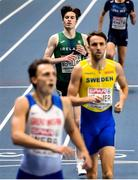 6 March 2021; Cian McPhillips of Ireland finishes fourth in the Men's 800m semi-final during the second session on day two of the European Indoor Athletics Championships at Arena Torun in Torun, Poland. Photo by Sam Barnes/Sportsfile