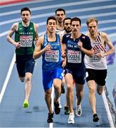 6 March 2021; Mark English of Ireland, left, competes in the Men's 800m semi-final during the second session on day two of the European Indoor Athletics Championships at Arena Torun in Torun, Poland. Photo by Sam Barnes/Sportsfile