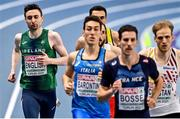 6 March 2021; Mark English of Ireland, left, on his way to finishing fourth in the Men's 800m semi-final during the second session on day two of the European Indoor Athletics Championships at Arena Torun in Torun, Poland. Photo by Sam Barnes/Sportsfile