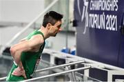 6 March 2021; Mark English of Ireland after finishing fourth in the Men's 800m semi-final during the second session on day two of the European Indoor Athletics Championships at Arena Torun in Torun, Poland. Photo by Sam Barnes/Sportsfile