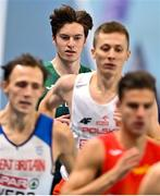 6 March 2021; Cian McPhillips of Ireland competes in the Men's 800m semi-final during the second session on day two of the European Indoor Athletics Championships at Arena Torun in Torun, Poland. Photo by Sam Barnes/Sportsfile