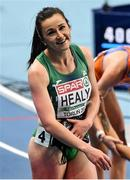 6 March 2021; Phil Healy of Ireland after finishing fourth in the Women's 400m final during the second session on day two of the European Indoor Athletics Championships at Arena Torun in Torun, Poland. Photo by Sam Barnes/Sportsfile