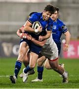 6 March 2021; Ross Byrne of Leinster is tackled by Tom O'Toole of Ulster during the Guinness PRO14 match between Ulster and Leinster at Kingspan Stadium in Belfast. Photo by Ramsey Cardy/Sportsfile