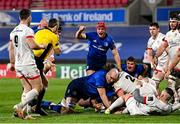 6 March 2021; Josh van der Flier of Leinster celebrates a try by Michael Bent during the Guinness PRO14 match between Ulster and Leinster at Kingspan Stadium in Belfast. Photo by Ramsey Cardy/Sportsfile