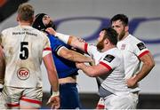 6 March 2021; Andrew Warwick of Ulster tussles with Scott Fardy of Leinster during the Guinness PRO14 match between Ulster and Leinster at Kingspan Stadium in Belfast. Photo by Ramsey Cardy/Sportsfile
