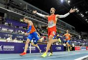 6 March 2021; Óscar Husillos of Spain celebrates winning gold from Tony van Diepen of Netherlands who won silver and bronze medallist Liemarvin Bonevacia of Netherlands in the Men's 400m final during the second session on day two of the European Indoor Athletics Championships at Arena Torun in Torun, Poland. Photo by Sam Barnes/Sportsfile