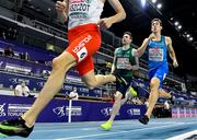 6 March 2021; Mark English of Ireland and Simone Barontini of Italy trail Adam Kszczot of Poland in the Men's 800m semi-final during the second session on day two of the European Indoor Athletics Championships at Arena Torun in Torun, Poland. Photo by Sam Barnes/Sportsfile