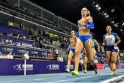 6 March 2021; Femke Bol of Netherlands leads Jodie Williams of Great Britain on her way to winning the Women's 400m final during the second session on day two of the European Indoor Athletics Championships at Arena Torun in Torun, Poland. Photo by Sam Barnes/Sportsfile