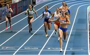 6 March 2021; Femke Bol of Netherlands crosses the line to win the Women's 400m final during the second session on day two of the European Indoor Athletics Championships at Arena Torun in Torun, Poland. Photo by Sam Barnes/Sportsfile