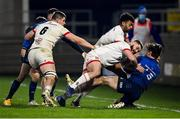 6 March 2021; Max O'Reilly of Leinster is tackled by Adam McBurney of Ulster during the Guinness PRO14 match between Ulster and Leinster at Kingspan Stadium in Belfast. Photo by Ramsey Cardy/Sportsfile