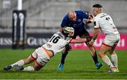6 March 2021; Rhys Ruddock of Leinster is tackled by Adam McBurney, left, and Ian Madigan of Ulster during the Guinness PRO14 match between Ulster and Leinster at Kingspan Stadium in Belfast. Photo by Ramsey Cardy/Sportsfile