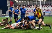 6 March 2021; Dan Sheehan of Leinster celebrates after scoring his side's fifth try during the Guinness PRO14 match between Ulster and Leinster at Kingspan Stadium in Belfast. Photo by Ramsey Cardy/Sportsfile