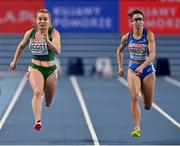 7 March 2021; Molly Scott of Ireland and Irene Siragusa of Italy compete in their heat of the Women's 60m during the first session on day three of the European Indoor Athletics Championships at Arena Torun in Torun, Poland. Photo by Sam Barnes/Sportsfile