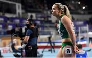 7 March 2021; Molly Scott of Ireland after finishing seventh in her heat of the Women's 60m during the first session on day three of the European Indoor Athletics Championships at Arena Torun in Torun, Poland. Photo by Sam Barnes/Sportsfile