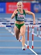 7 March 2021; Sarah Lavin of Ireland on her way to finishing fourth in her semi-final of the Women's 60m Hurdles during the first session on day three of the European Indoor Athletics Championships at Arena Torun in Torun, Poland. Photo by Sam Barnes/Sportsfile