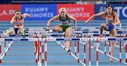 7 March 2021; Markéta Štolová of Czech Republic, Sarah Lavin of Ireland and Zoë Sedney of Netherlands compete in her semi-final of the Women's 60m Hurdles during the first session on day three of the European Indoor Athletics Championships at Arena Torun in Torun, Poland. Photo by Sam Barnes/Sportsfile