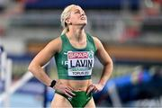7 March 2021; Sarah Lavin of Ireland after finishing fourth in her semi-final of the Women's 60m Hurdles during the first session on day three of the European Indoor Athletics Championships at Arena Torun in Torun, Poland. Photo by Sam Barnes/Sportsfile