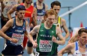 7 March 2021; Séan Tobin of Ireland competes in the Men's 3000m Final during the second session on day three of the European Indoor Athletics Championships at Arena Torun in Torun, Poland. Photo by Sam Barnes/Sportsfile