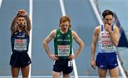 7 March 2021; Jimmy Gressier of France, Séan Tobin of Ireland and Jack Rowe of Great Britain stand at the start line prior to the Men's 3000m Final during the second session on day three of the European Indoor Athletics Championships at Arena Torun in Torun, Poland. Photo by Sam Barnes/Sportsfile