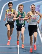 7 March 2021; Séan Tobin of Ireland competes alongside Marcel Fehr of Germany and Robin Hendrix of Belgium in the Men's 3000m Final during the second session on day three of the European Indoor Athletics Championships at Arena Torun in Torun, Poland. Photo by Sam Barnes/Sportsfile