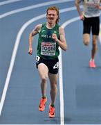 7 March 2021; Séan Tobin of Ireland con his way to finishing 11th in the Men's 3000m Final during the second session on day three of the European Indoor Athletics Championships at Arena Torun in Torun, Poland. Photo by Sam Barnes/Sportsfile
