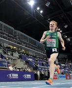 7 March 2021; Séan Tobin of Ireland on his way to finishing 11th in the Men's 3000m Final during the second session on day three of the European Indoor Athletics Championships at Arena Torun in Torun, Poland. Photo by Sam Barnes/Sportsfile