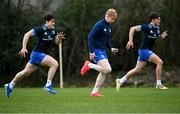 8 March 2021; Tim Corkery, left, Jamie Osborne, centre, and Max O'Reilly during Leinster Rugby squad training at UCD in Dublin. Photo by Ramsey Cardy/Sportsfile