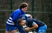 8 March 2021; Alex Soroka, left, and Scott Penny during Leinster Rugby squad training at UCD in Dublin. Photo by Ramsey Cardy/Sportsfile