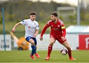 6 March 2021; Gearóid Morrissey of Cork City in action against Adam O'Reilly of Waterford during the pre-season friendly match between Waterford and Cork City at the RSC in Waterford. Photo by Seb Daly/Sportsfile
