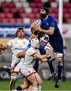 6 March 2021; Scott Fardy of Leinster and Ian Madigan of Ulster compete for possession during the Guinness PRO14 match between Ulster and Leinster at Kingspan Stadium in Belfast. Photo by Ramsey Cardy/Sportsfile