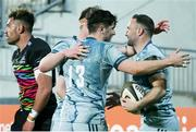 12 March 2021; Dave Kearney, right, is conggratulated by team-mate Jimmy O'Brien, 13, after scoring his side's fourth try during the Guinness PRO14 match between Zebre and Leinster at Stadio Sergio Lanfranchi in Parma, Italy. Photo by Roberto Bregani/Sportsfile