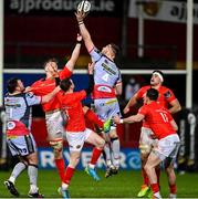 12 March 2021; Morgan Jones of Scarlets, centre, supported by team-mate Steffan Thomas, contests a high ball with Munster players, from left, Gavin Coombes, Nick McCarthy, Shane Daly and Jack O'Sullivan during the Guinness PRO14 match between Munster and Scarlets at Thomond Park in Limerick. Photo by Ramsey Cardy/Sportsfile