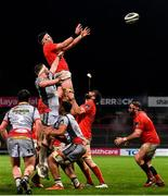 12 March 2021; Billy Holland of Munster wins possession in a lineout during the Guinness PRO14 match between Munster and Scarlets at Thomond Park in Limerick. Photo by Matt Browne/Sportsfile