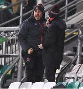 12 March 2021; Dundalk coach Filippo Giovagnoli celebrates his side's first goal from the stand during the FAI President's Cup Final match between Shamrock Rovers and Dundalk at Tallaght Stadium in Dublin. Photo by Harry Murphy/Sportsfile