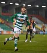 12 March 2021; Liam Scales of Shamrock Rovers celebrates after scoring his side's first goal during the FAI President's Cup Final match between Shamrock Rovers and Dundalk at Tallaght Stadium in Dublin. Photo by Stephen McCarthy/Sportsfile